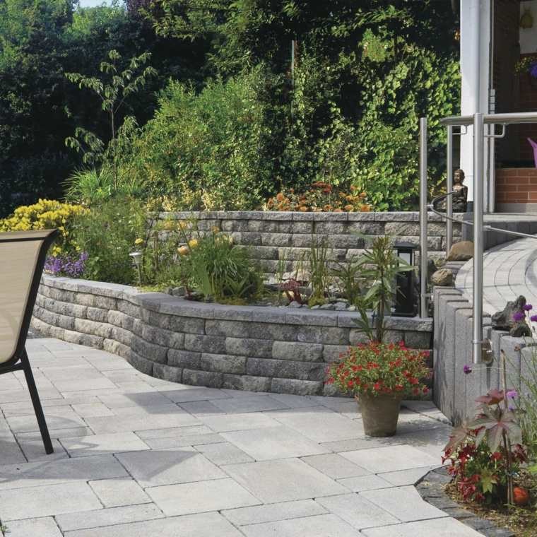 jardines modernos muro piedras cemento