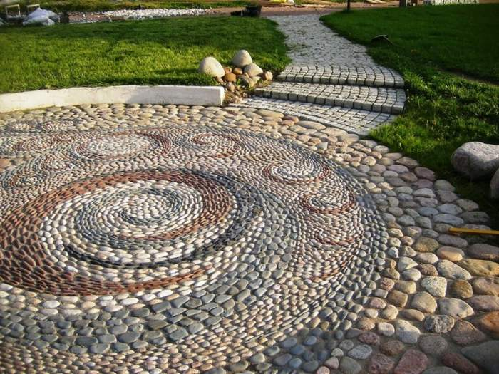 jardines mosaicos circulares detallados cesped