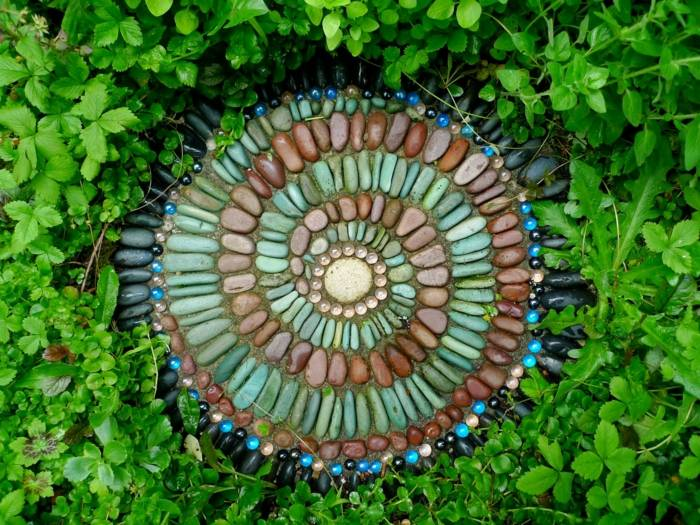 jardines mosaicos colores flores espirales plantas