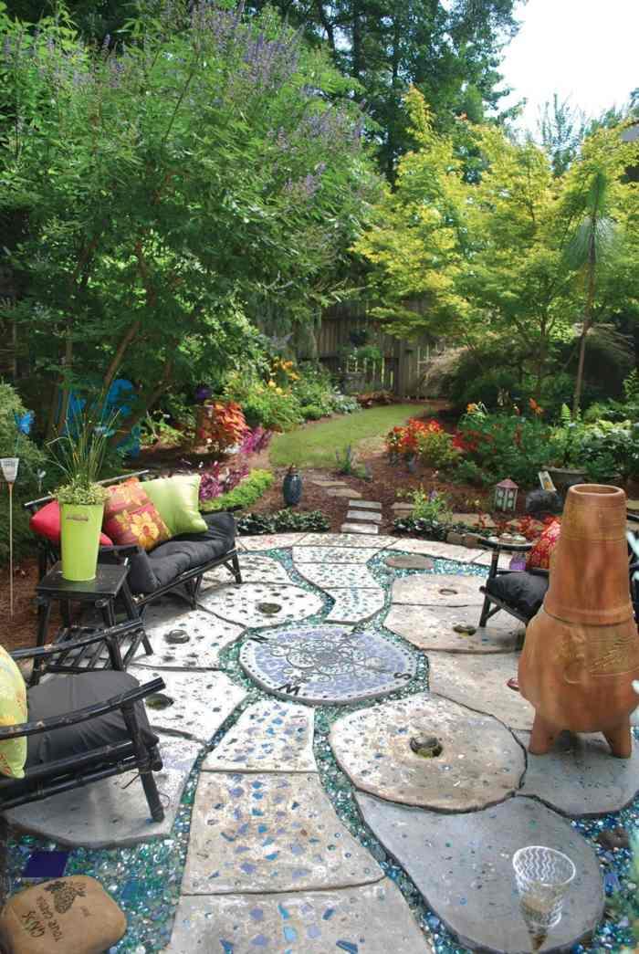 jardines mosaicos colores flores sillones
