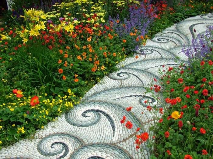 jardines mosaicos coloridos efectos flores