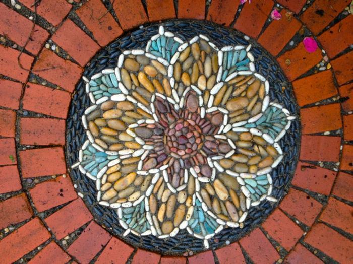 jardines mosaicos coloridos piedras naturales ladrillos