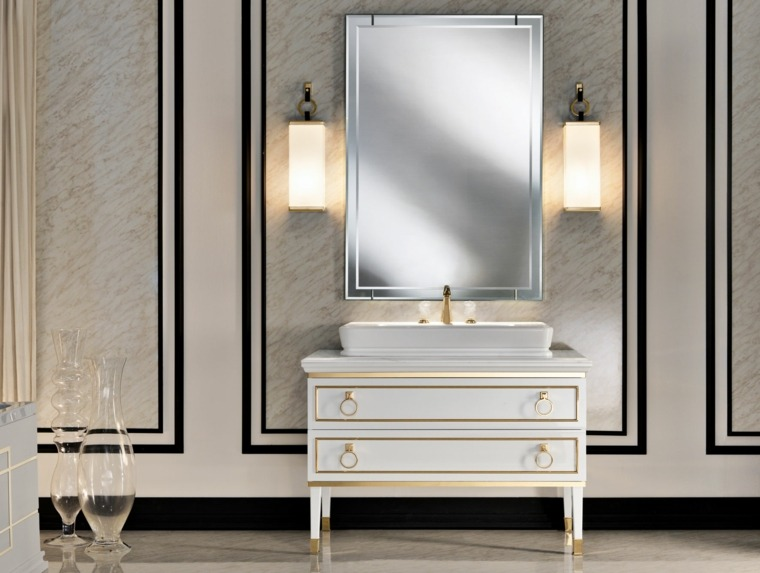 lavabo bano diseno clasico italiano blanco oro ideas