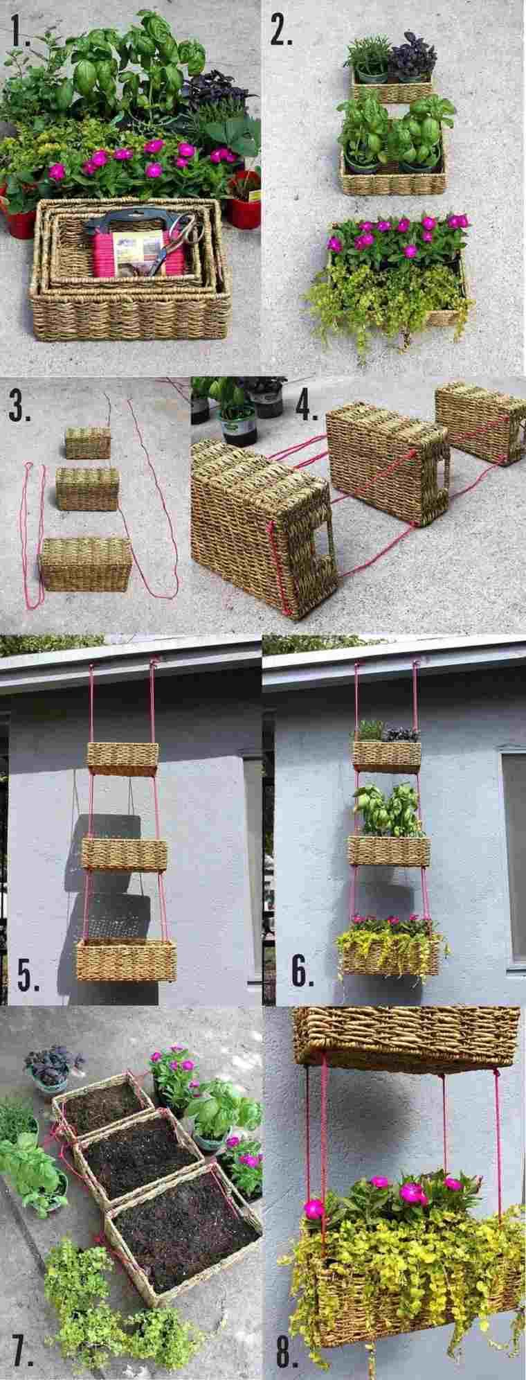 macetas hechas cestos origina decorar jardin ideas