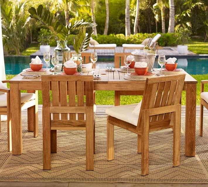 muebles madera teca mesa sillas comidas aire libre