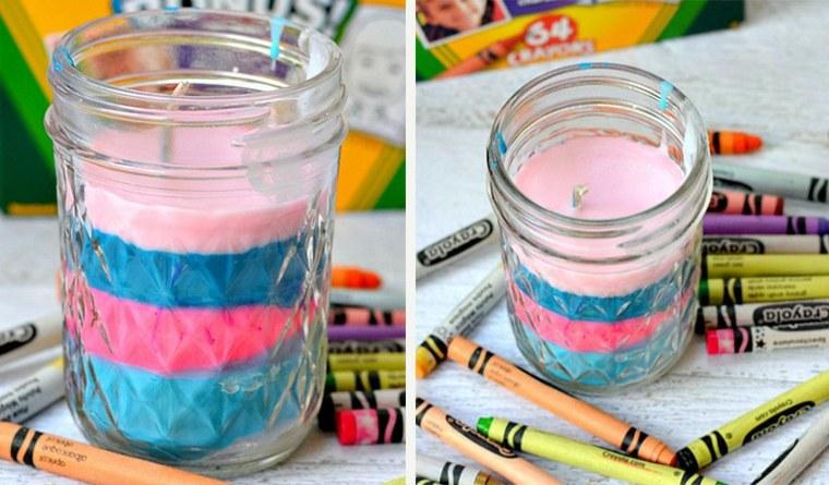 manualidades ninos faciles crayolas coveridas velas ideas