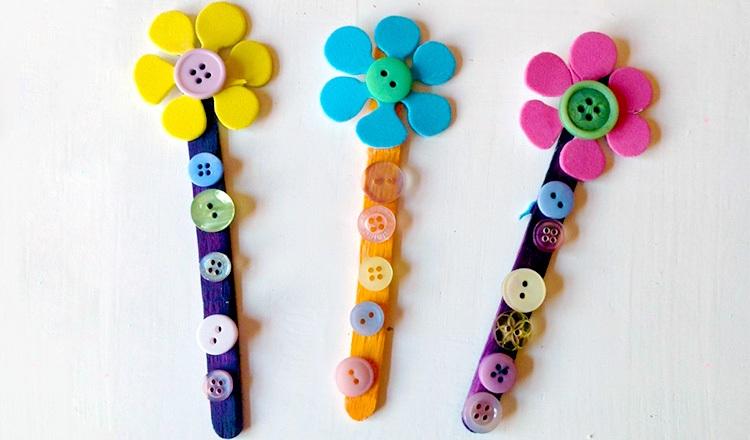 manualidades para ninos faciles flores botones ideas - Manualidades Faciles Para Nios