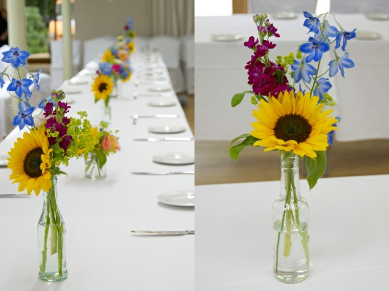 mesa cenas de verano flor girasol