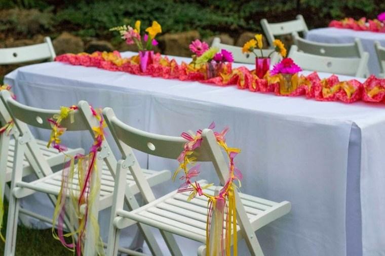 mesa verano flores deco petalos
