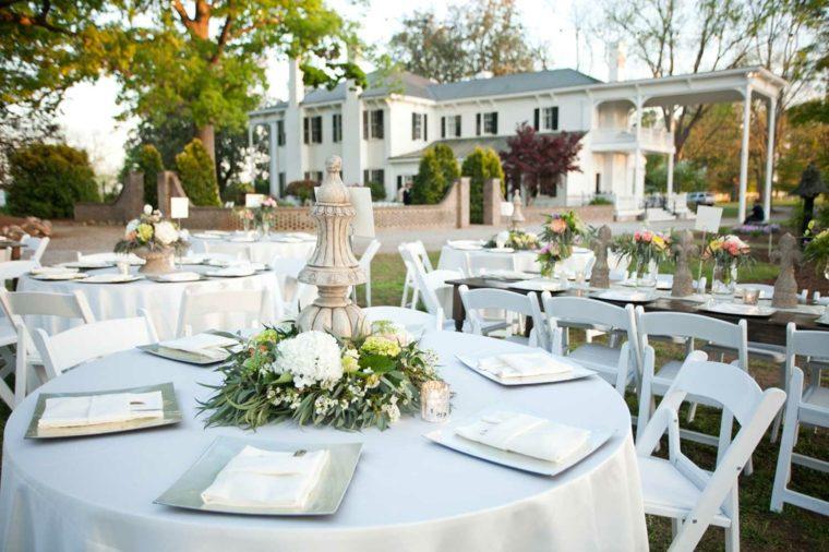 mesas boda decoración jardin