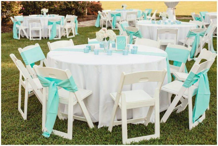 mesas boda lazos color celeste