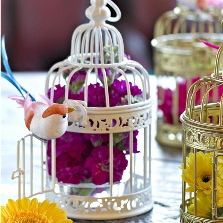 mini jaulas decorativas flores dentro