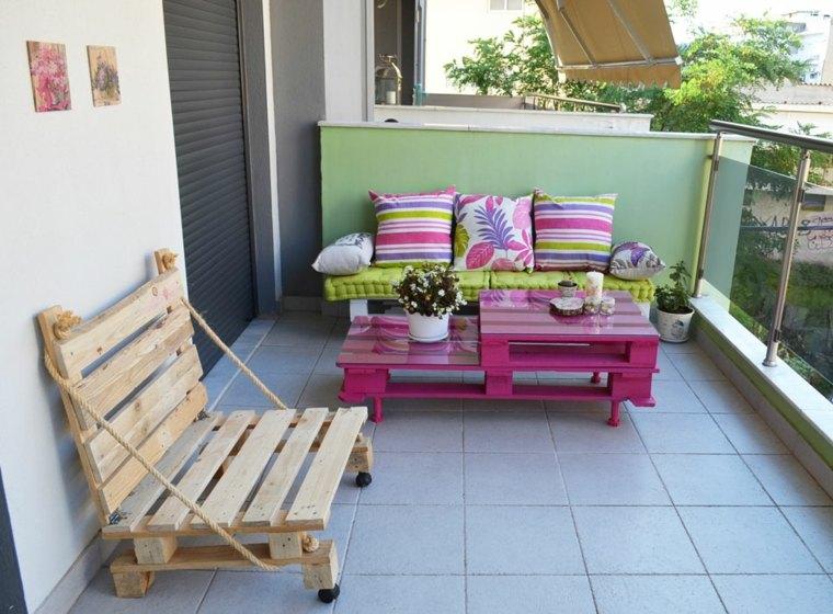 muebles balcon palet colores deco