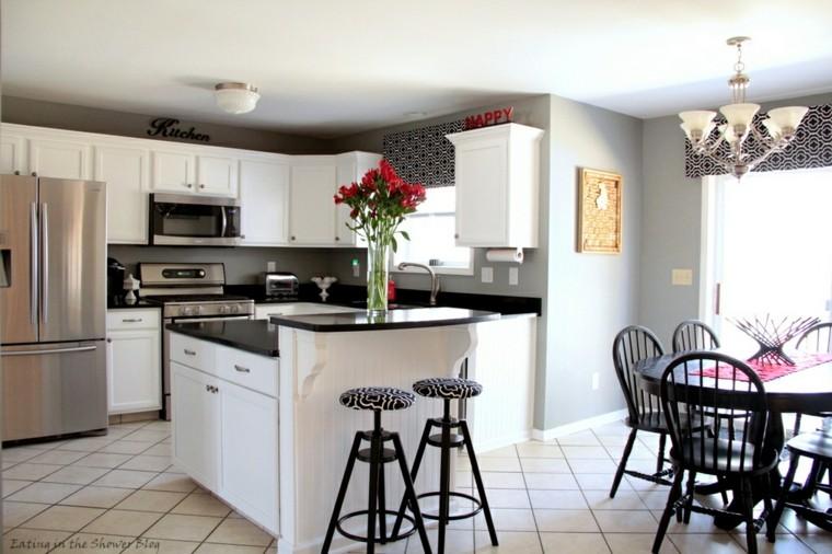 muebles cocina blanco negro tradicional