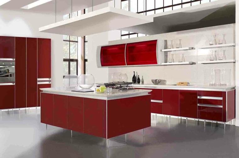 Muebles de cocina en rojo bermellón