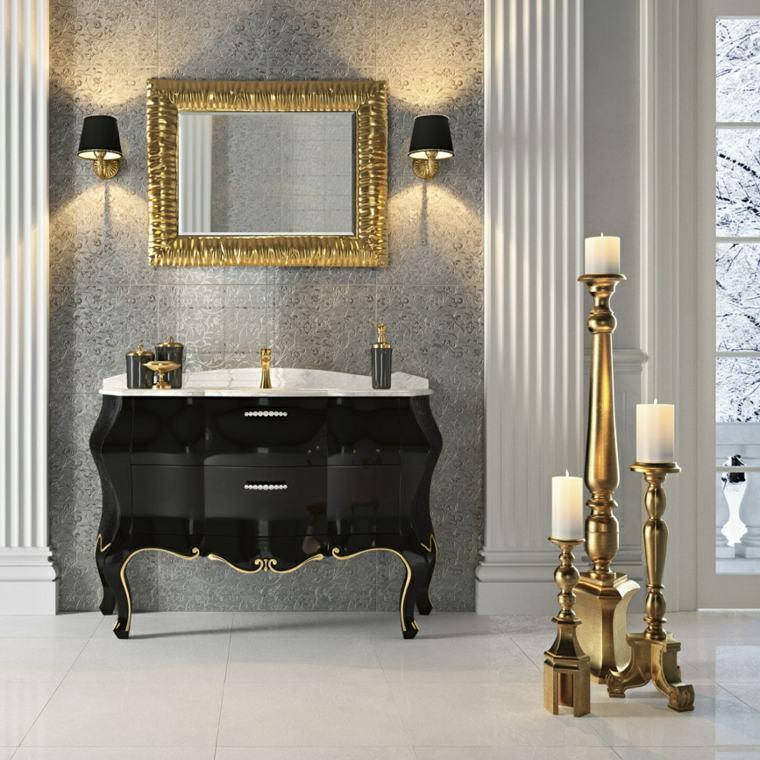 muebles de baño diseno clasico lavabo candelabros ideas