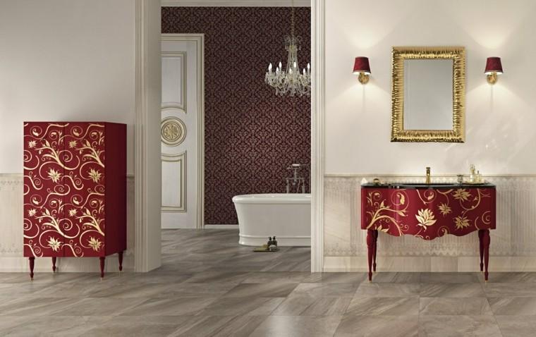 muebles bano diseno clasico lavabo rojo estampa ideas