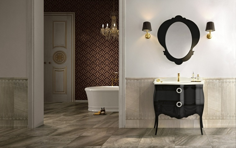 muebles bano diseno clasico negro lavabo ideas