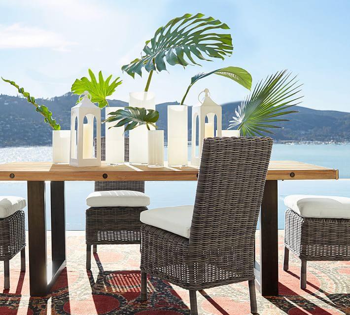 muebles de madera teca mesa jarrones preciosos ideas