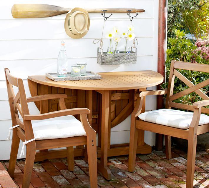 muebles de madera teca mesa plegable redonda ideas