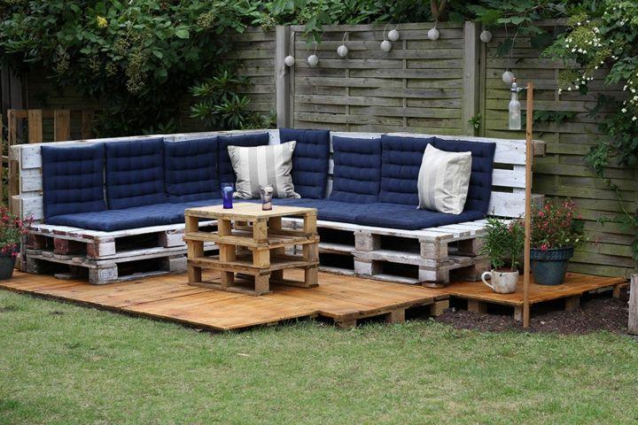 muebles jardin con palets azules verdes centro