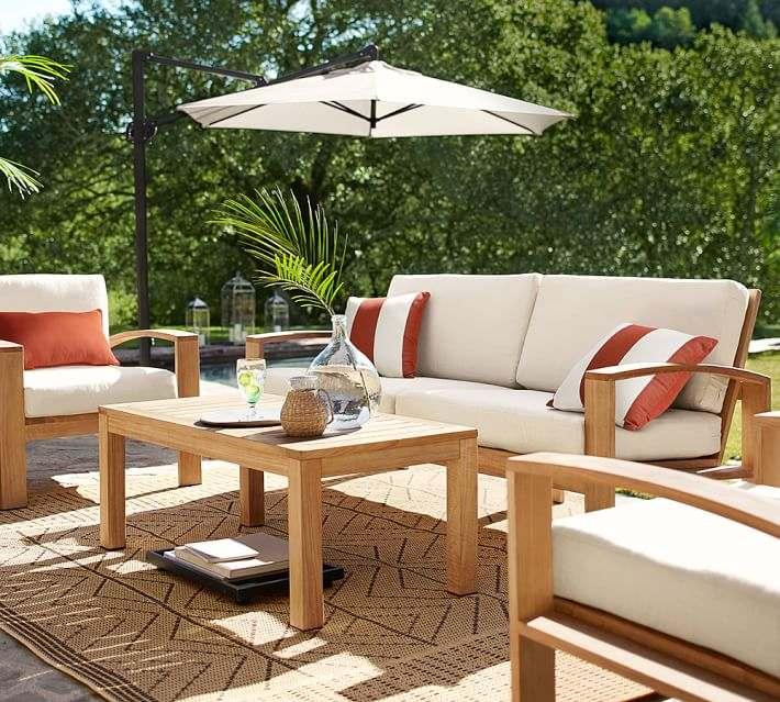 muebles madera teca alfombra aire libre ideas