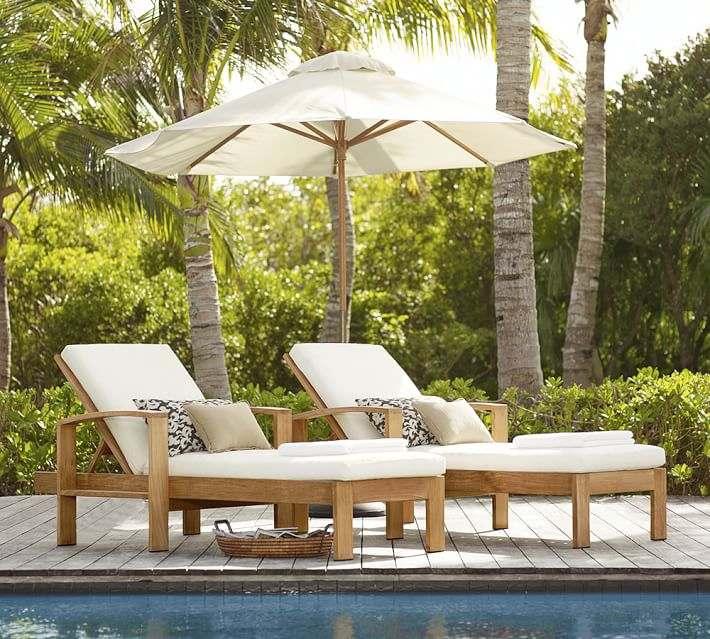 muebles madera teca dos tumbonas piscina ideas
