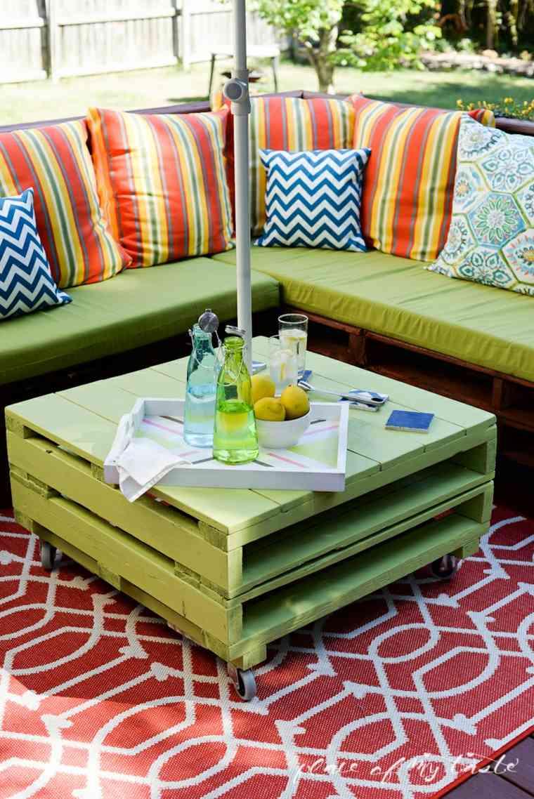 muebles palet mesilla color verde