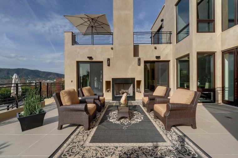 muebles ratan alfombra chimenea terraza ideas
