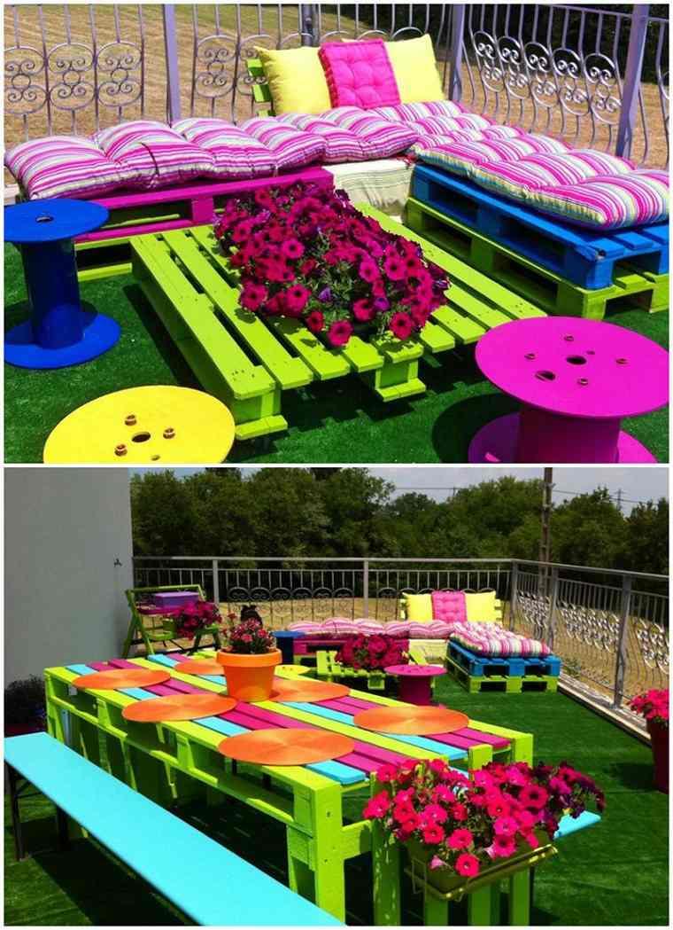 como hacer ideas de muebles hechos de palets con un poco de pintura colorida
