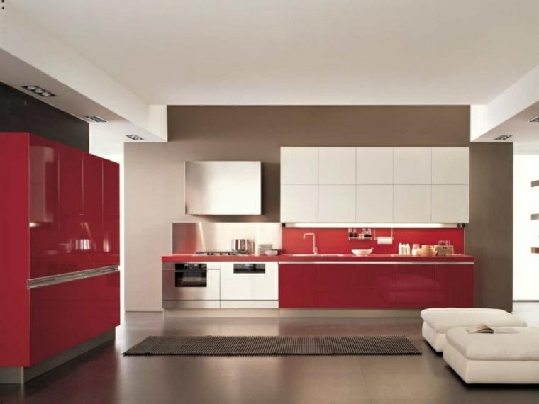 muebles cocina rojos diseño moderno
