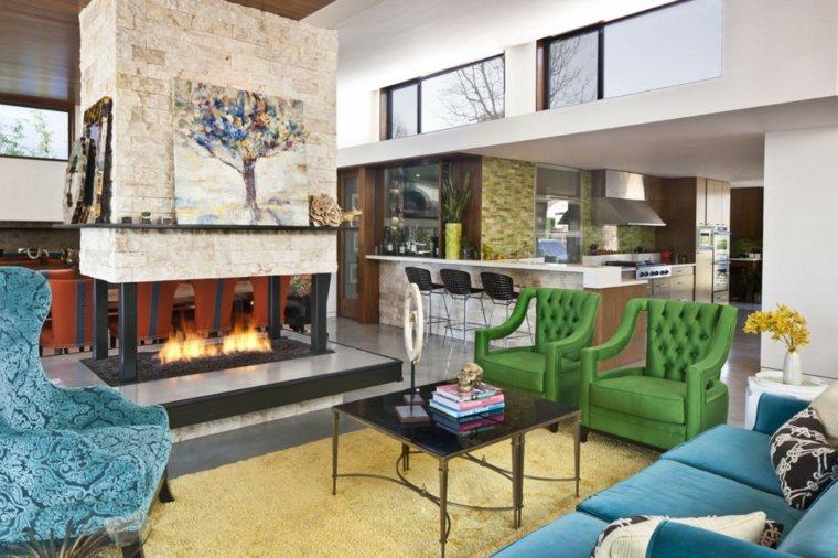 diseño de interiores salon colores vibrantes