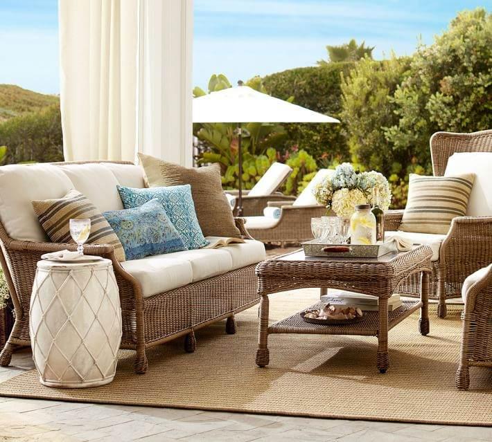 muebles terraza pergola cortinas blancas opciones ideas