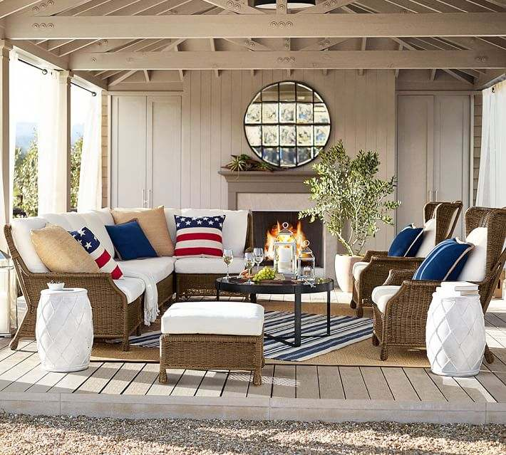 muebles terraza rattan espejo decorativo exterior ideas