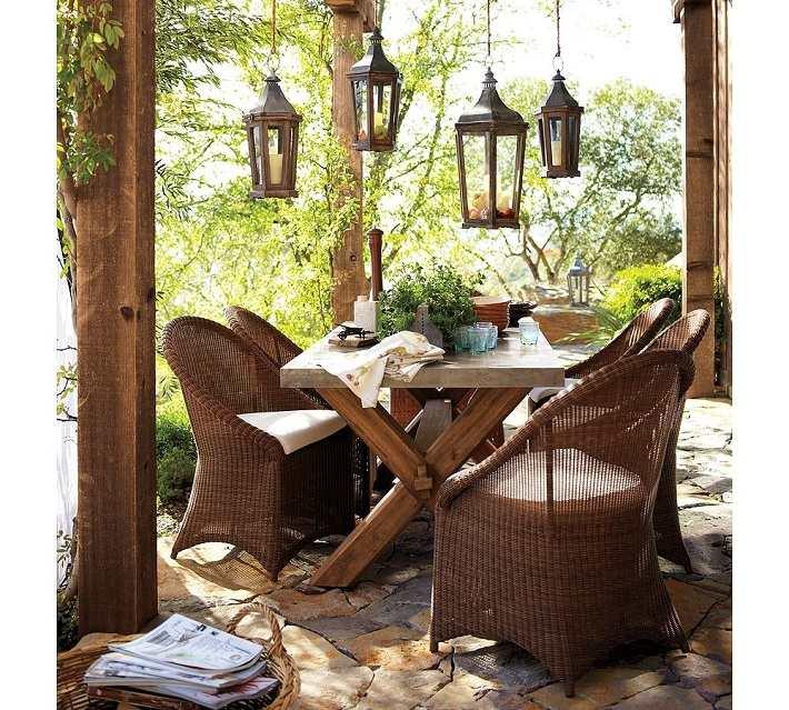 muebles terraza rattan farolas decorativas ideas