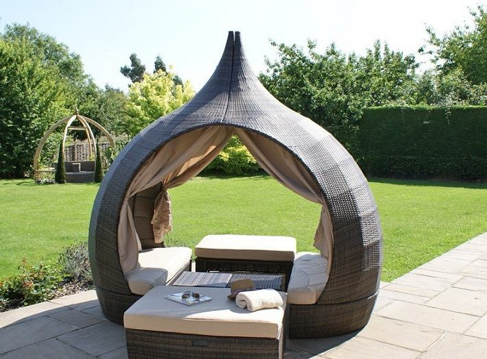 muebles terraza rattan sofa pergola preciosa ideas