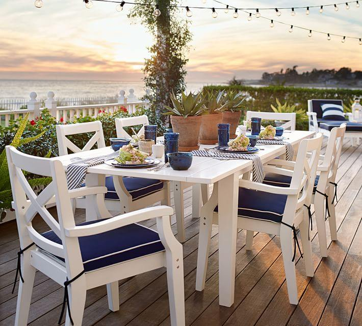 muebles terraza suelo madera muebles blancos ideas