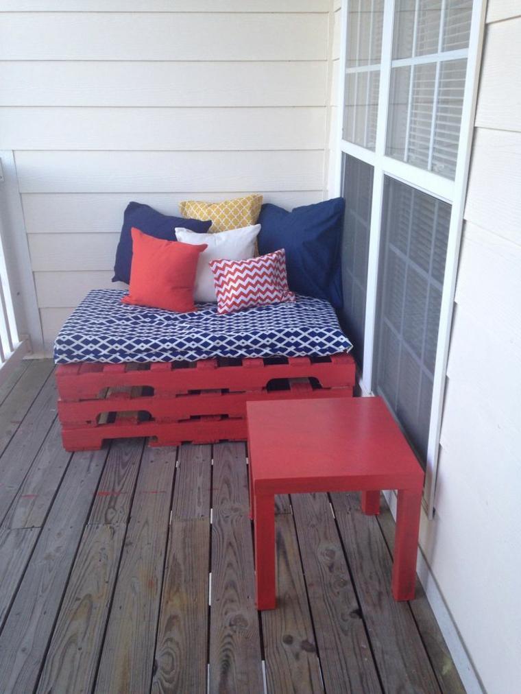 muebles palet color rojo