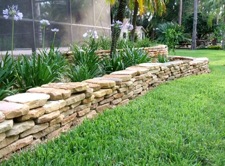Muros de piedra seca sin cemento 24 ideas para jardines - Muros para jardin ...