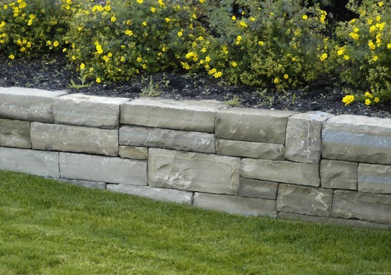 Muros de piedra seca sin cemento 24 ideas para jardines - Bloques para muros ...