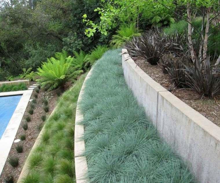 muros contención terraza cemento jardin