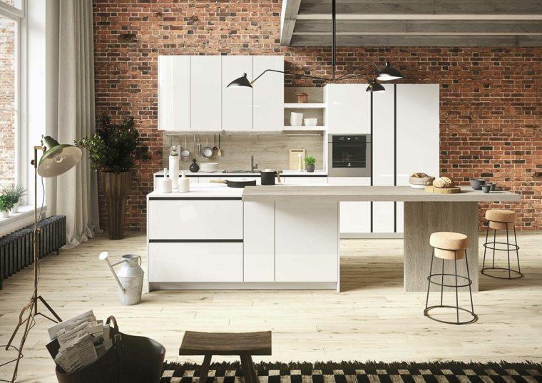 cocina blanca pared ladrillo visto