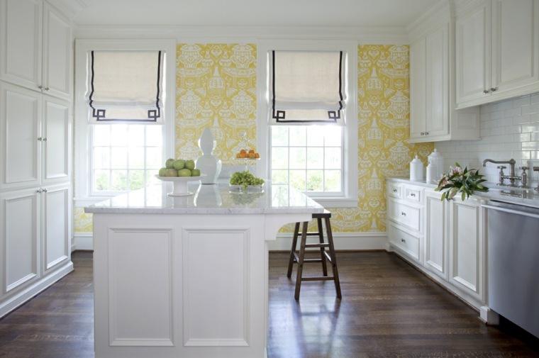 opciones paredes amarillas cocina blanca ideas