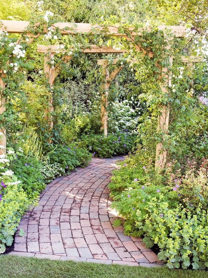 opciones pergola jardin diseno rustico camino ideas