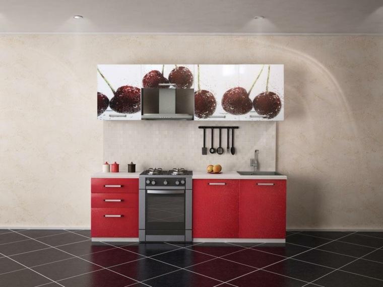 original diseño cocina pequeña cerezas
