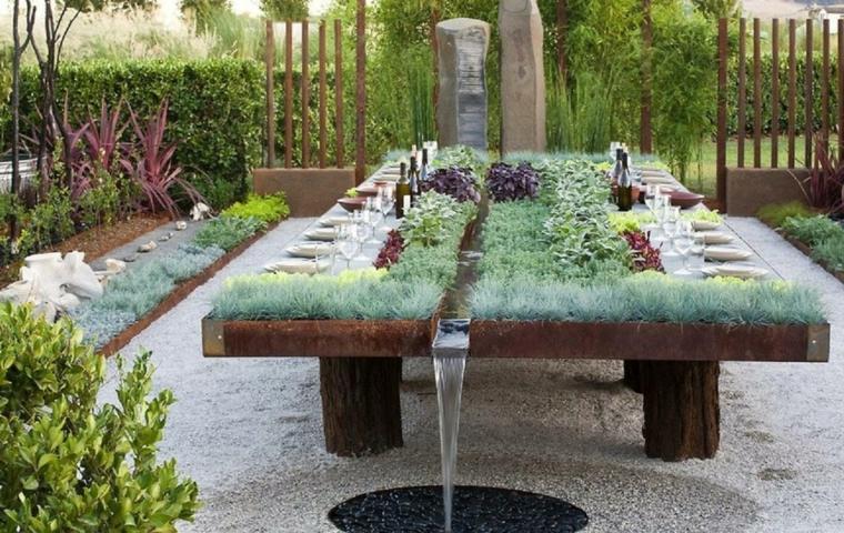original diseño mesa fuente plantas