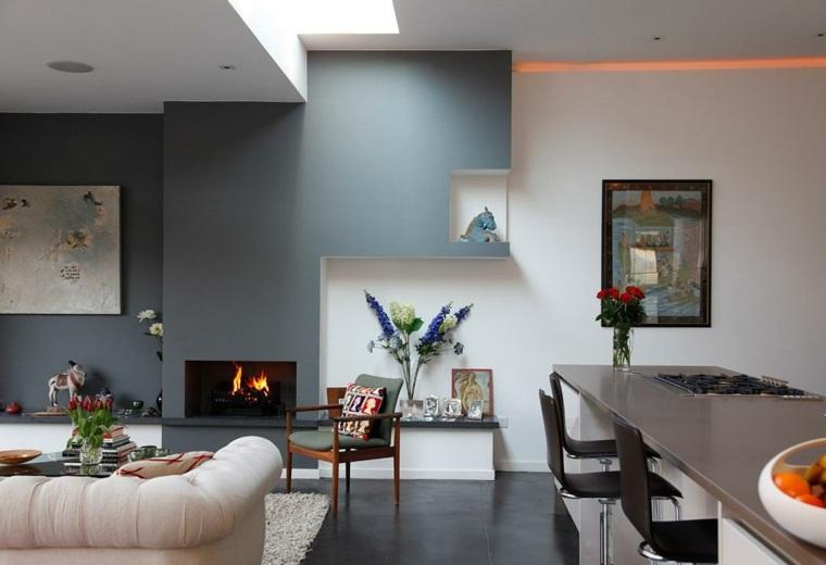 original diseño interior pared gris