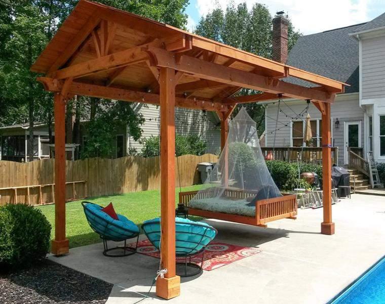 P rgolas madera dise os originales con tejados estilo - Vigas de madera para tejados ...