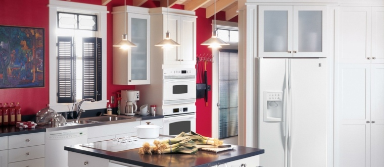 original diseño cocina pared roja