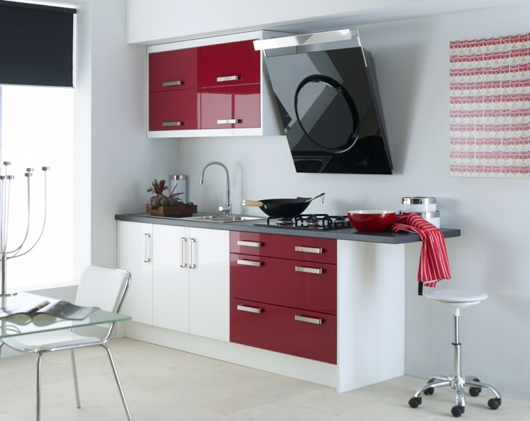 cocina moderna blanco rojo with diseo muebles cocina